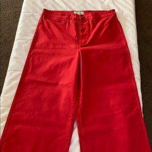 Madewell Emmett Wide Leg Crop Red Jeans 32